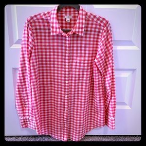 J Crew classic red gingham button down shirt